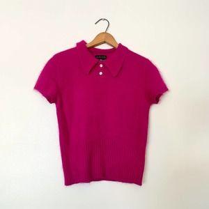 Limited Angora Fuchsia Crop Sweater M